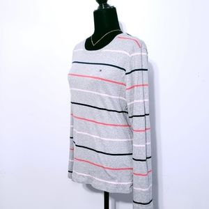 Tommy Hilfiger Grey Striped Long Sleeved Tee XL
